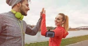 couple congratulating each other on workout completion