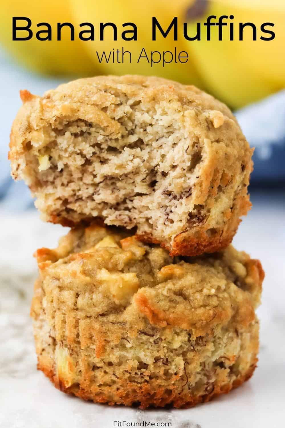 banana muffins with apple stacked