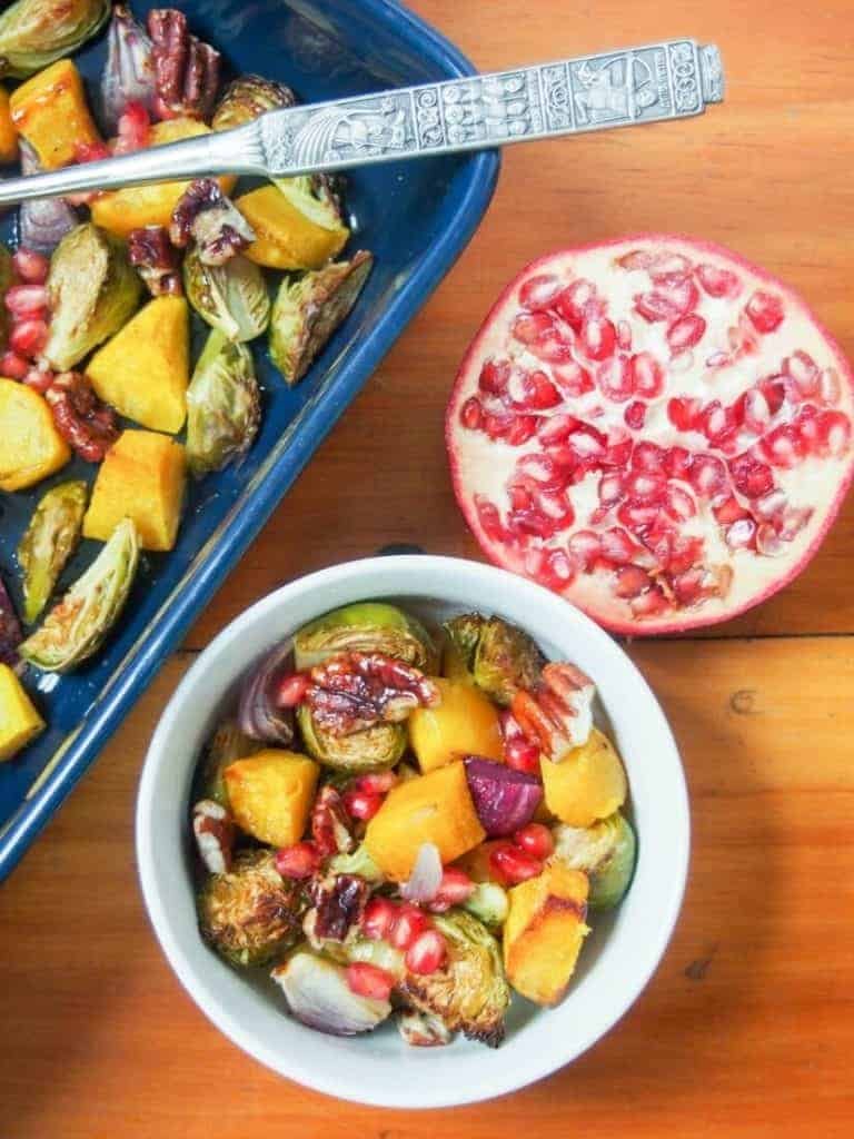 colorful acorn squash and brussels sprout