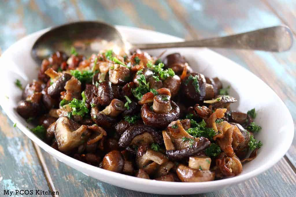 perfectly roasted mushrooms with garnish