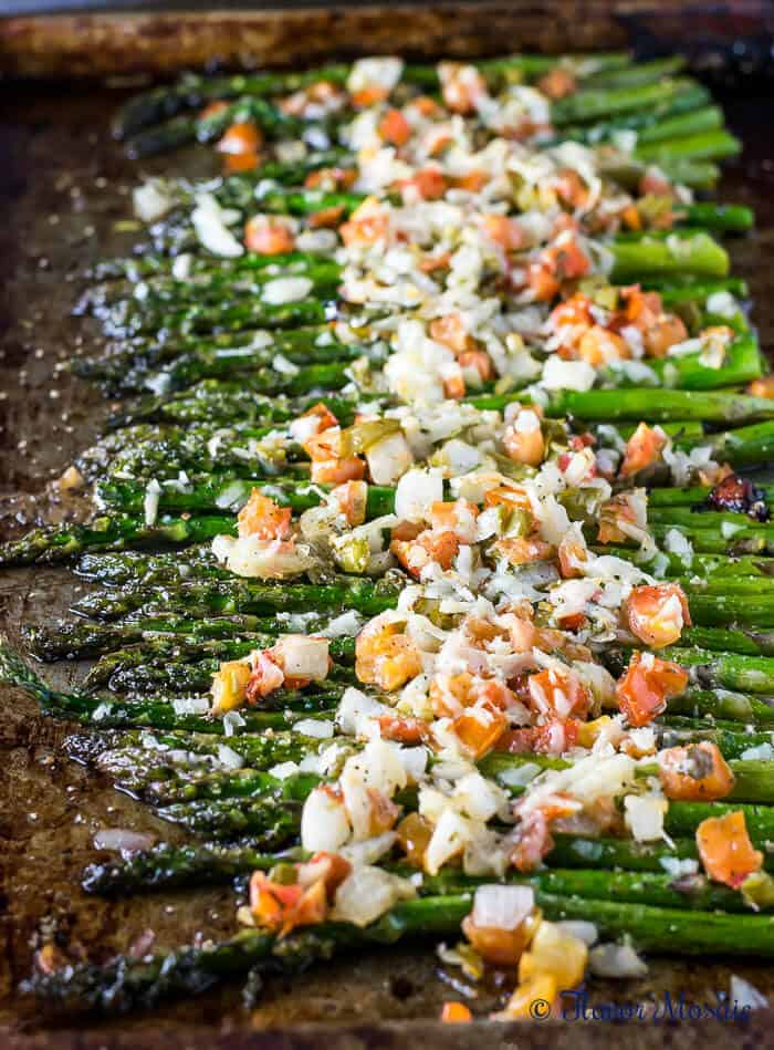 roasted asparagus with tomatoes and cheese