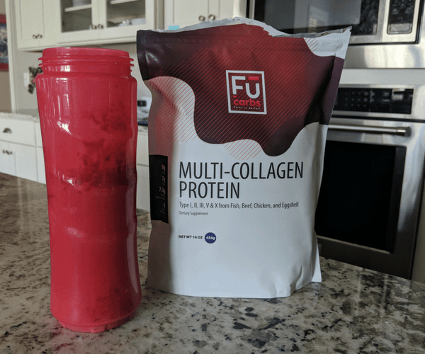 bag of collagen protein beside protein shake