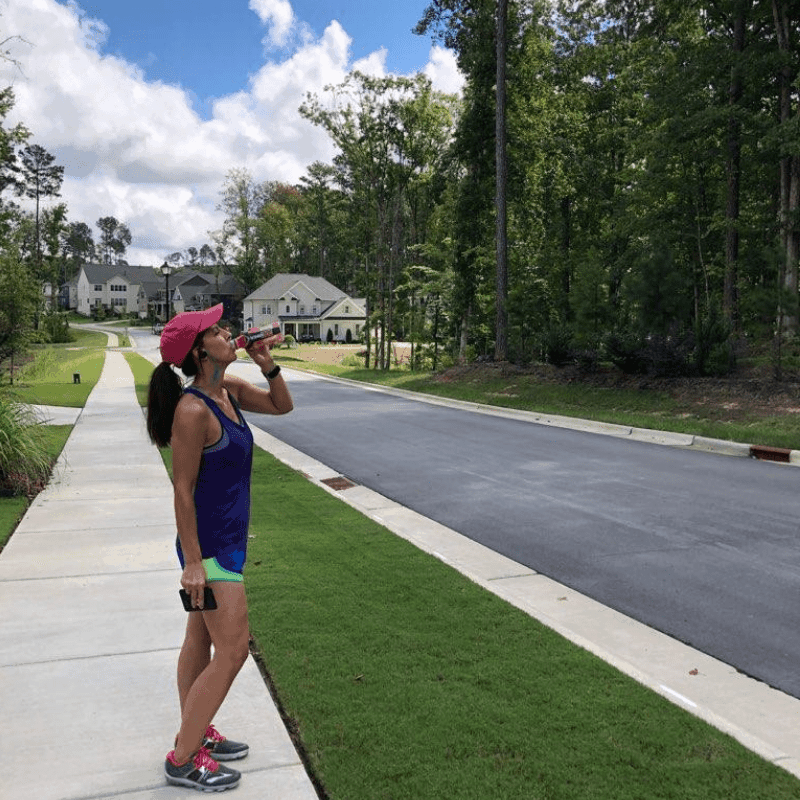 Stephanie walking 3 miles a day drinking Body Armor sports drink
