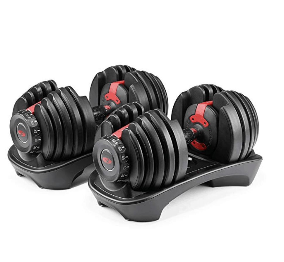 set of bowflex selectech weights for small space home gym