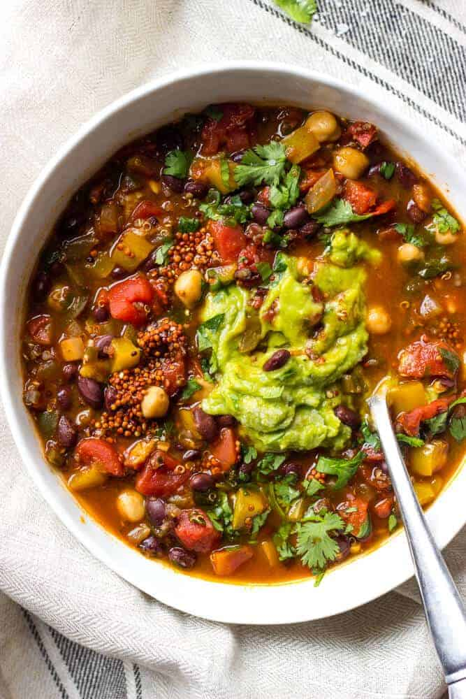 veggie chili with quinoa and black beans soup