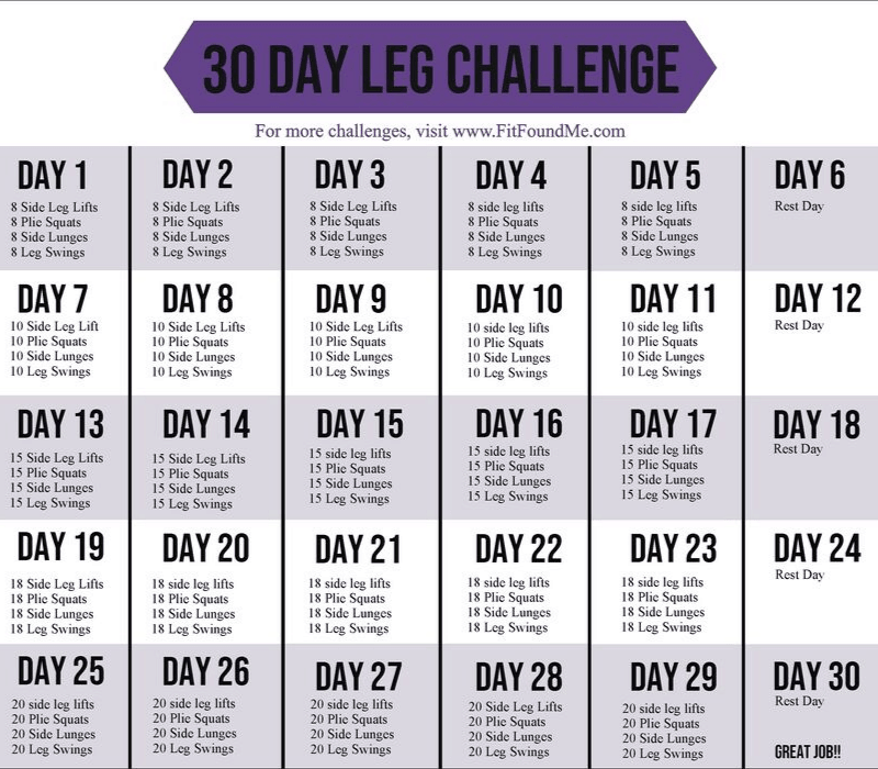 printable 30 day challenge calendar with squats