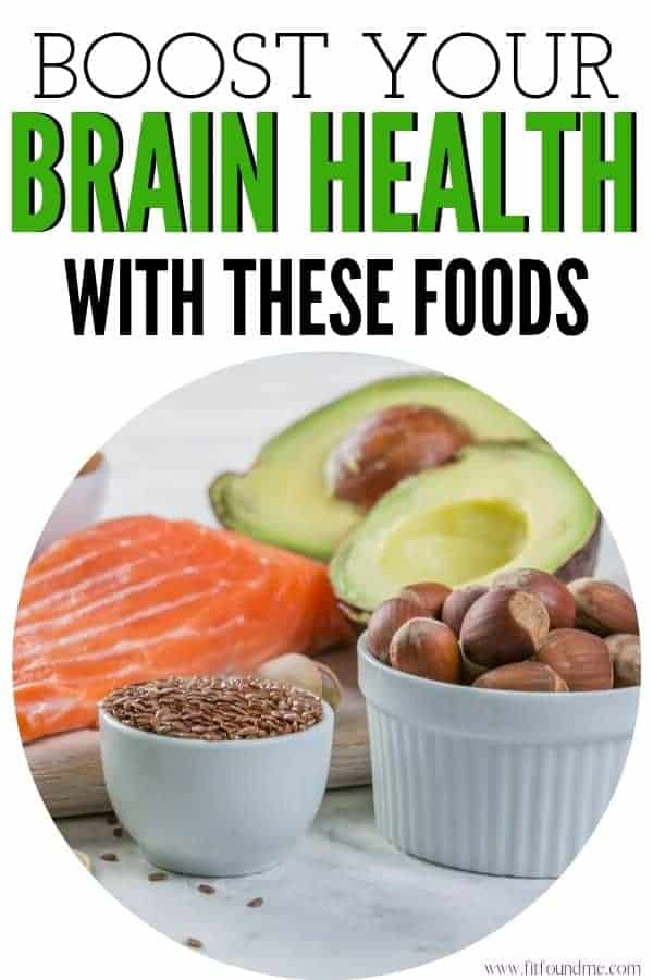 brain healthy foods poster with foods and heading